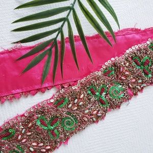 Accessories - Free🔸️Indian Hot Pink Sequined Beaded Ribbon Belt